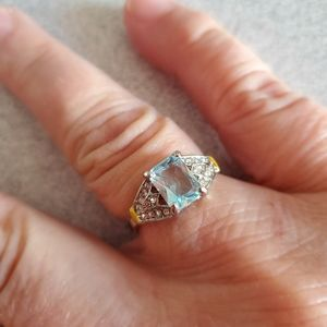 Blue Topaz and Rhinestone Ring